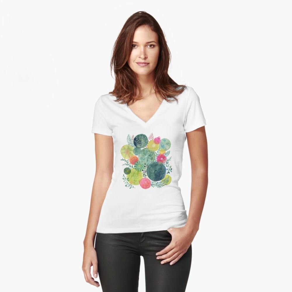 Sukkulenten Kreisen Tailliertes T-Shirt mit V-Ausschnitt
