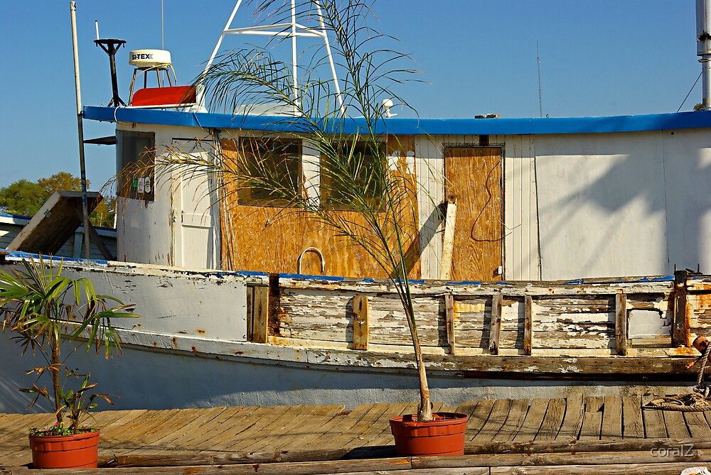 Old Fishermen Boat at Sponge Docks, Tarpon Springs, Florida by coralZ