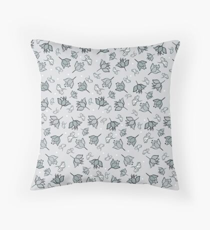 Shades of gray flowers Throw Pillow