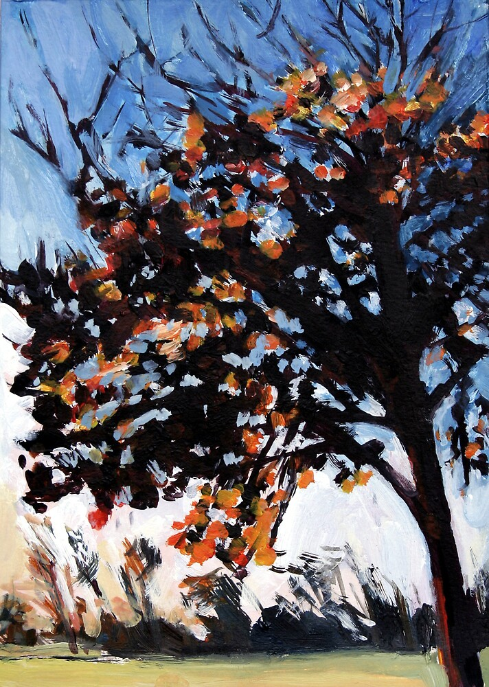 orange, red Tree by Justine Nettleton