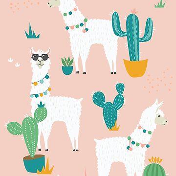 Summer Llama Pattern in Blush by latheandquill