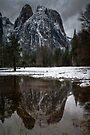 Yosemite Moody Reflection From Valley Floor by photosbyflood