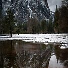 Yosemite Moody Reflection From Valley Floor by photosbyflood