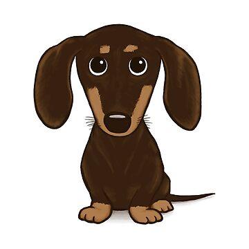 Cute Chocolate Dachshund Cartoon Dog by ShortCoffee