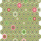 Pink and Green Honey Comb by katherine montalto