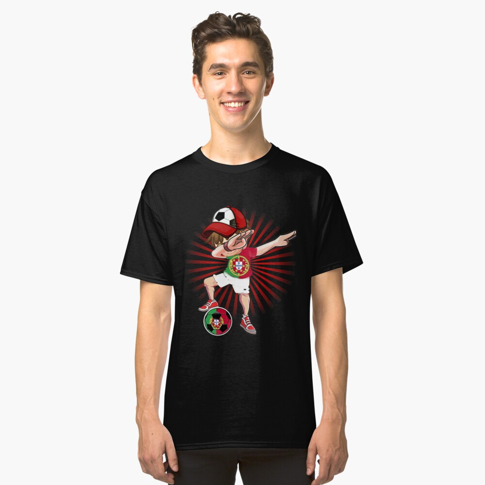 44d88a6c Dabbing Soccer Boy Portugal Jersey Shirt Portuguese Football Classic T-Shirt