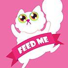 Feed me! Cute white fluffy cat by cutecartoons