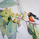 Rot gekappter Robin mit Gummiblüte von scallyart