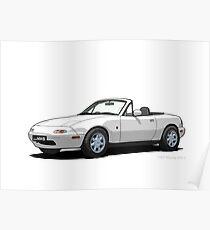 Mazda MX-5 MK1 Crystal White Poster