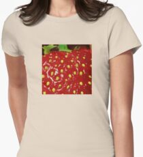 Strawberry Macro photography Women's Fitted T-Shirt