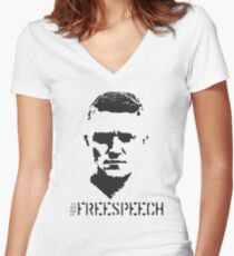 Hashtag Free Speech Free Tommy Tommy Silhouette Women's Fitted V-Neck T-Shirt