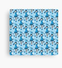 Alice in Tealand pattern Canvas Print