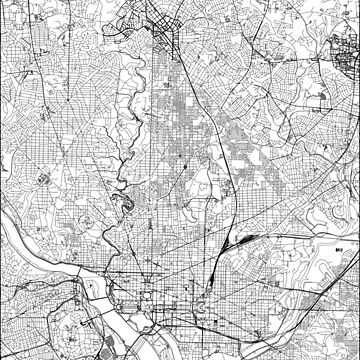 Washington D. C. White Map von multiplicitymap