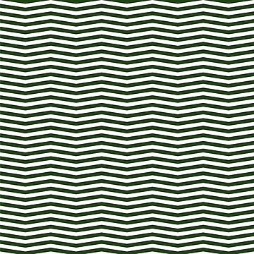 Dark Forest Green and White Chevron Zigzag Stripes by podartist