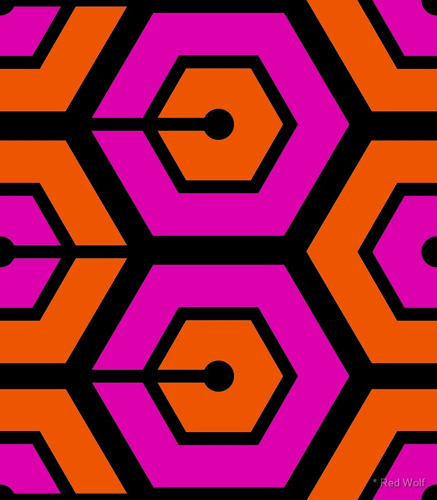 Geometric Pattern: Linked Hexagon: Orange/Pink by * Red Wolf