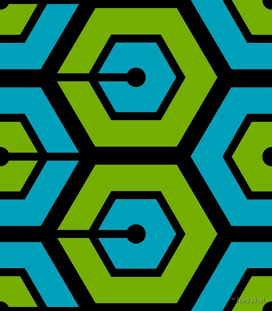 Geometric Pattern: Linked Hexagon: Blue/Green by * Red Wolf