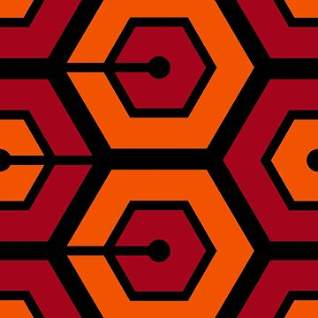 Geometric Pattern: Linked Hexagon: Orange/Red by redwolfoz
