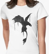 Toothless Silhouette - Ink Drips Women's Fitted T-Shirt