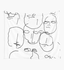 Abstract hand drawn faces - white background Wall Tapestry