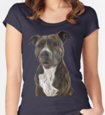 Pit Bull Terrier Oil Painting Style Fitted Scoop T-Shirt