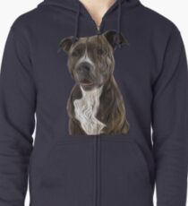 Pit Bull Terrier Oil Painting Style Zipped Hoodie