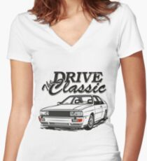 S1 Quattro & quot; Drive the Classic & quot; Women's Fitted V-Neck T-Shirt