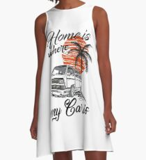 T3 Bus Transporter Camper Van Multivan LLE & quot; Home is where my car is & quot; A-Line Dress