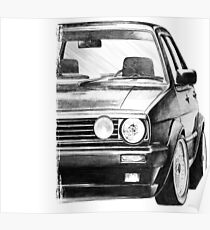 """Golf 2 GTI MK2 """"Drawing Style"""" Poster"""