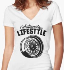 Automotive Lifestyle BBS Wheel Women's Fitted V-Neck T-Shirt