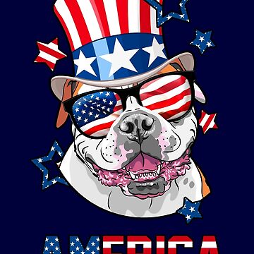American Bulldog American Flag Hat Glasses 4th of July by vintagetreasure