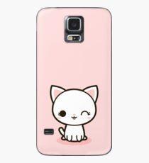 Kawaii weiße Katze Hülle & Klebefolie für Samsung Galaxy