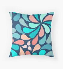 In a Spin XL print retro navy teal coral Throw Pillow
