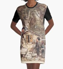 Hansel & Grethel & Other Tales by Grimm Wilelm and Jacob art by Arthur Rackham 0007 Old Woman on a Crutch T-Shirt Kleid