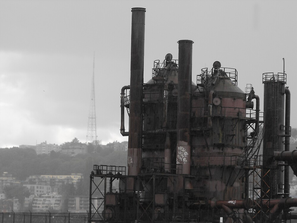 Gas Works in the Rain by SpectralSchism