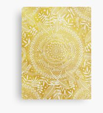 Medallion Pattern in Mustard and Cream Metal Print