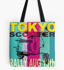 Tokyo Scooter Rally Poster Blue Square Tote Bag