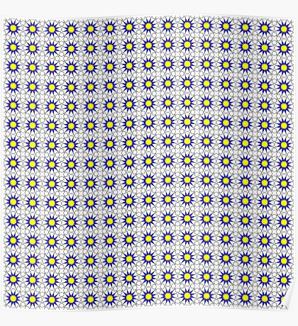 Islamic Geometric pattern 002 Blue & Yellow Poster