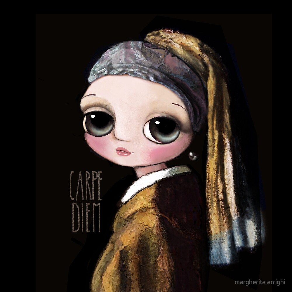 The girl with the pearl earring, big eyes art by Margherita Arrighi by margherita arrighi