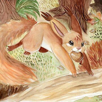 Autumn - Squirrel by yolinart