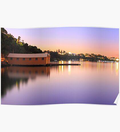 Swan River Boatshed At Sunset  Poster