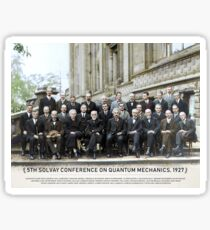 With names: 5th Solvay Conference on Quantum Mechanics, 1927.  Sticker