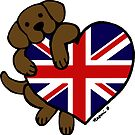 Union Jack British Heart Chocolate Labrador  by HappyLabradors