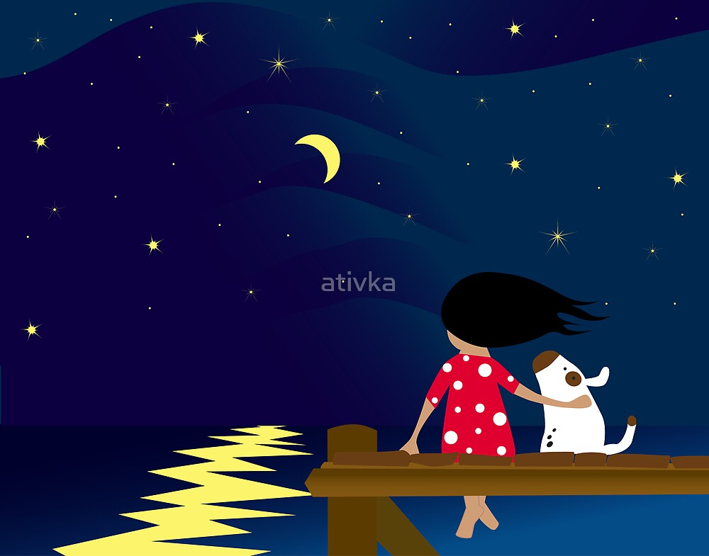 Girl And Dog At The Sea The young girl looking sea landscape at night by ativka