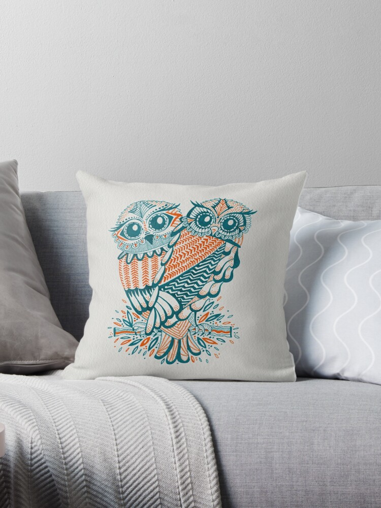 Pleasing Owls Teal Orange Throw Pillow By Cat Coquillette Theyellowbook Wood Chair Design Ideas Theyellowbookinfo