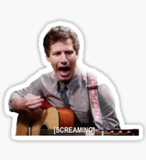 Jake Peralta screaming with guitar Sticker