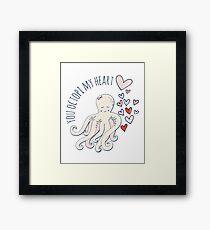 Cute Love Octopus, Valentine Romance Framed Print