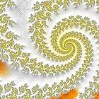 Yellow & Orange Swirls Fractal Art by daphsam