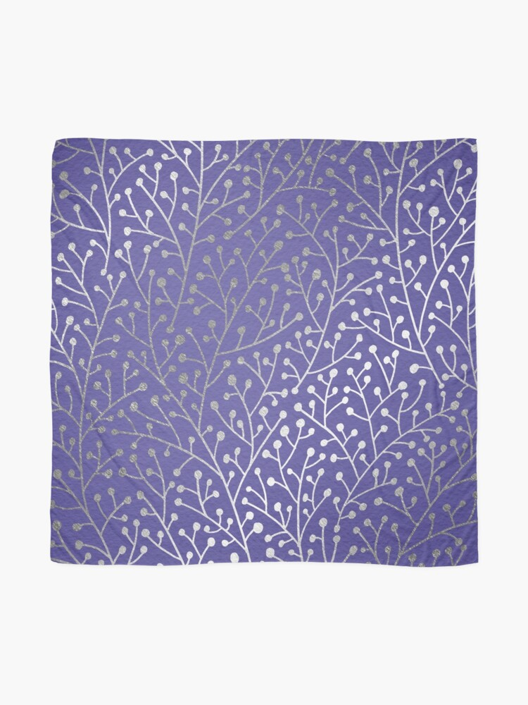 Alternate view of Silver Berry Branches on Periwinkle Scarf