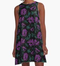 Purple flowers on black background  A-Line Dress
