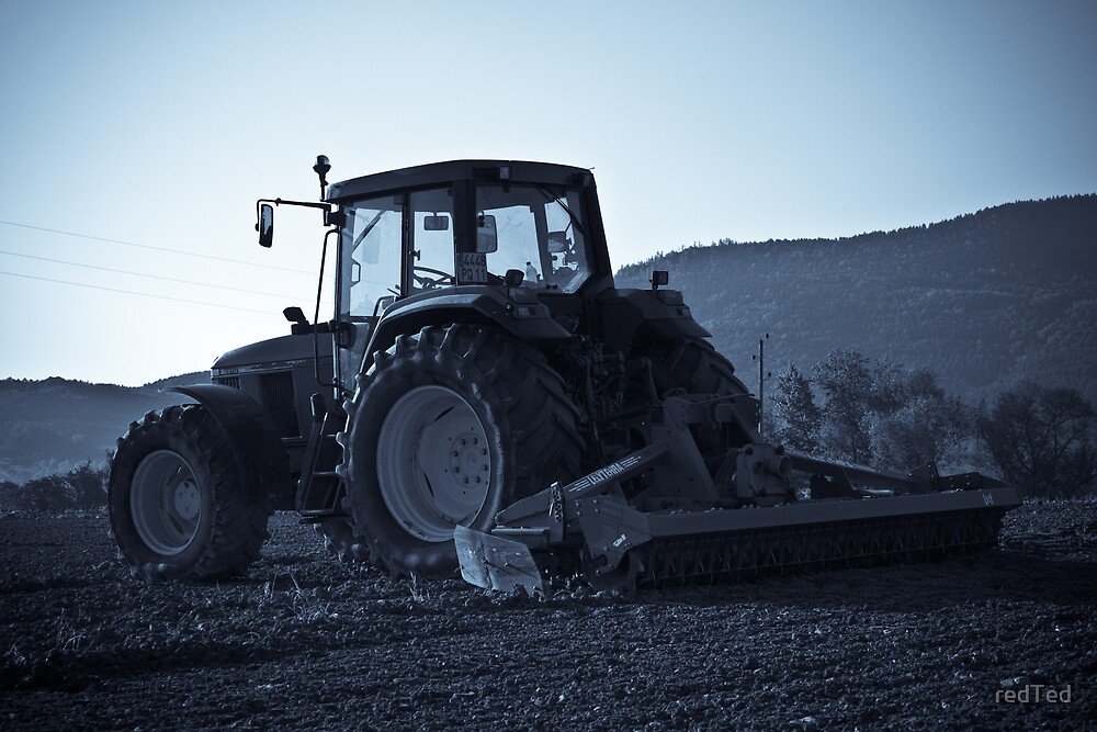 Tractor in field by redTed
